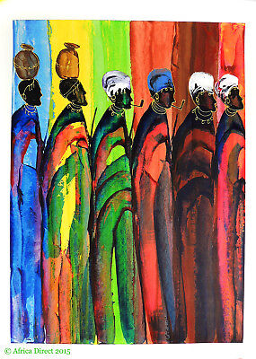 Acrylic Painting HERERO WOMEN Signed African Art