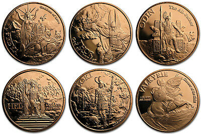 Norse Gods & Goddesses 1 oz Copper Round Series (5 Coins) - Only 100,000 Minted