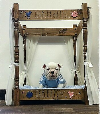 Dog Double Bunk Bed 4 Poster Style Handmade Personalised