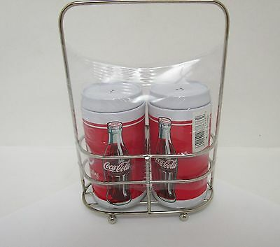 Coca Cola Salt & Pepper Shakers in Wire Carrying Holder