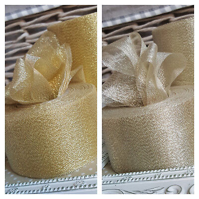 50mm, 100mm Gold, Champagne or Silver Sparkly Mesh Net Ribbon. Glitter Christmas