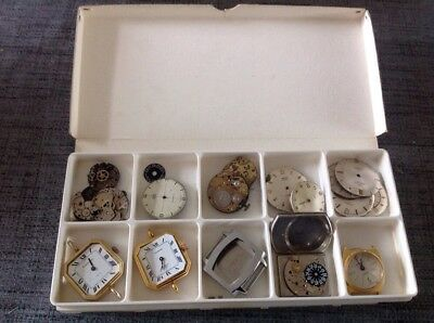 Vintage Watch Movements And Dials Incl Amida Smiths Lucerne For Spare Parts