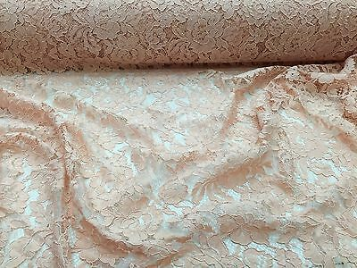 Peach Vintage Corded French Lace Embroider On A Antique Mesh.Wedding/Bridal/yard