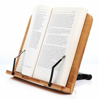 Book Stand Holder Wood Cookbook Reading Portable Adjustable Bookrack Bamboo Fold