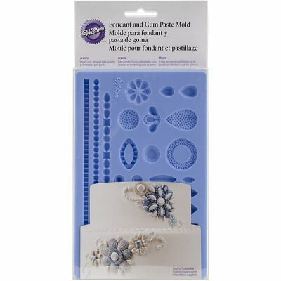 Wilton Wedding Jewelry Fondant and Gum Paste Silicone Mold - 25 Jewel Shapes