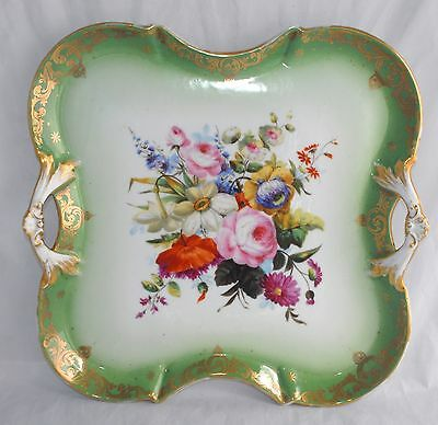Superb! Large Antique Hand Painted Porcelain Tray - Floral Sprays, Gilt