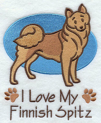 I Love My Finnish Spitz Dog SET OF 2 HAND TOWELS EMBROIDERED Beautiful