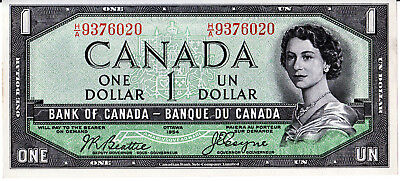 Bank Of Canada  1954 Devil Face $1.00  -Almost  Uncirculated