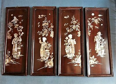 SET 4 (four) Rosewood Wall Panels With Shell MOTHER PEARL Inlay Asian Chinese
