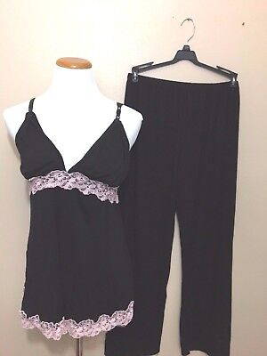 Black Pink Maternity Nursing Pajama Two Piece Breastfeeding Set Lace  SZ large
