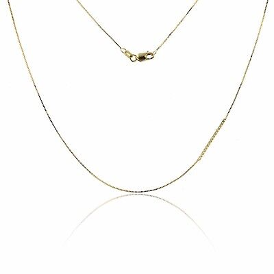 """0.60mm Classic Square Box Chain Necklace Lobster Clasp 10K YELLOW GOLD 17"""" & 19"""""""