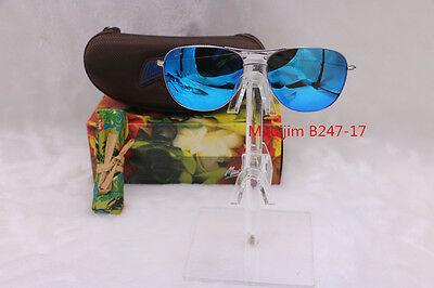 Special price --MAUI JIM CLIFF HOUSE B247-17 SUNGLASSES SILVER FRAME/BLUE HAWAII