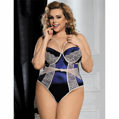 Plus Size Teddy Blue Sexy Women's Lingerie Sizes XL to 5XL