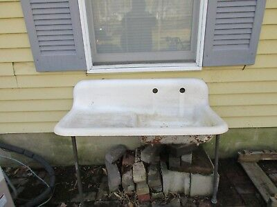 Antique Kitchen Farm Sink w/drainboard.  Circa 1930.