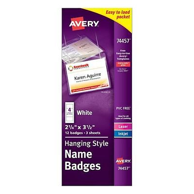 """Avery Poly Hanging White Name Badge 2-1/4 """" X 3-1/2"""" Top-Loading 12 Pack"""