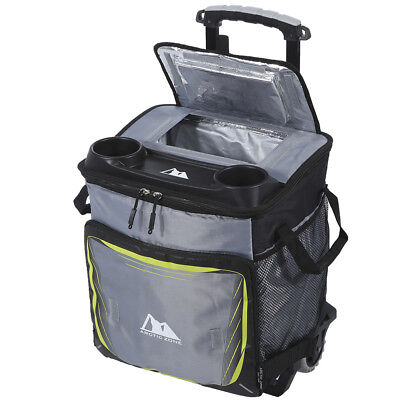 50 Can Cooler With Rolling Cart Bag Trolley Picnic Lunchbox Camping BBQ Tote Box