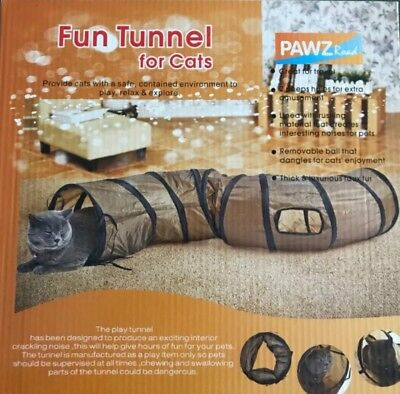 Pet Tunnel Cat Play Tunnel  Brown Foldable Cat Tunnel Kitten Cat small dog Toy