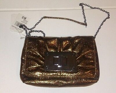 NEW Jessica Mcclintock evening purse BRONZE clutch chain strap sparkly metallic