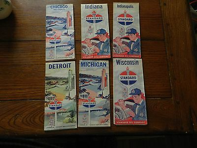 Lot of 6 Standard Oil Company Advertising Road Maps gas station