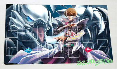 F266n Free Mat Bag Yugioh Blue-eyes White Dragon Kaiba Seto TCG CCG Playmat Zone