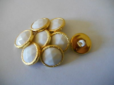 M90 * 12 Gold & White Sparkle Resin Shank Buttons * New * 18Mm