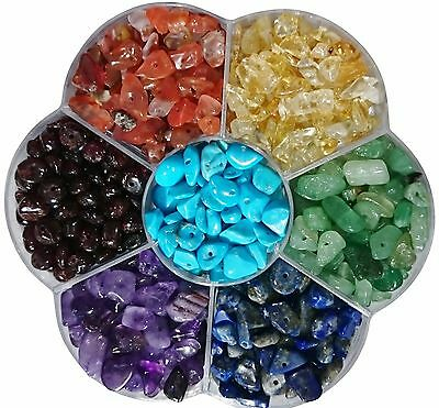 Mix Genuine Gemstone 5-8mm Chips Beads Boxed Chakra Healing Reiki Rainbow Loose