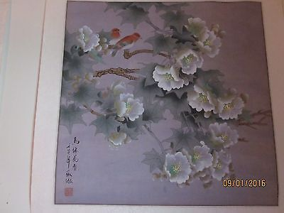 Vintage Chinese Water-color on Rice Paper, matted on silk, artist signed [8]