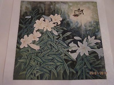 Vintage Chinese Water-color on Rice Paper, matted on silk, artist signed [9]