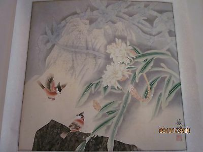 Vintage Chinese Water-color on Rice Paper, matted on silk, artist signed [1]