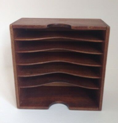Vintage Post Office Desktop Wooden Multiple Compartment Document Tray