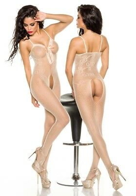 Sexy Netz Bodystocking Spitze Zierschleife Netzbody ouvert Catsuit Body Stocking