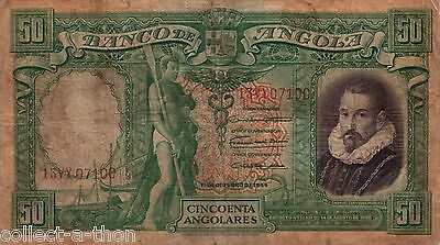 RARE HUGE AWESOME ANGOLA 50A (1944) w HISTORIC IMAGES! F-VF 1 FANTASTIC BANKNOTE