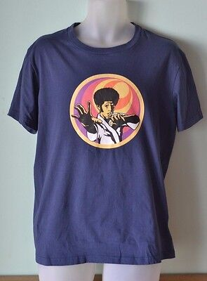 Vintage  Mens shirt T shirt retro style  Kung fu afro Karate navy blue