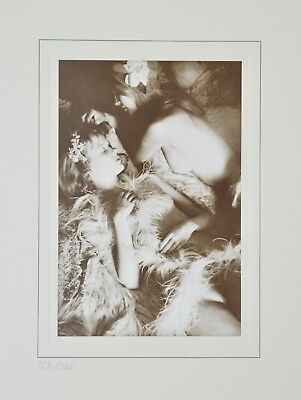 David Hamilton Limited Edition Photo 30x38cm Feathers lace & flowers Girls Nude