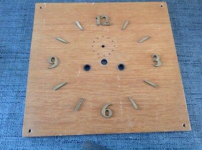 Vintage Wooden Clock Face 235x230mm Great Brass Numbers 20mm High 1.5mm Thick