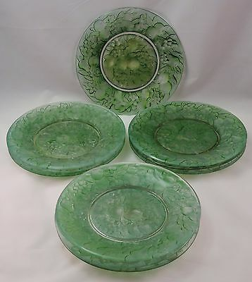 """Consolidated Glass Martele """" Five Fruits """" 1920's Green Plates (10) *rare Find*"""