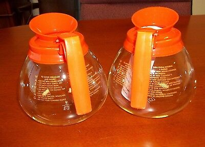 2 pk - 12 Cup Commercial Coffee Pots/Carafes/Decanters for BUNN - Decaf (Orange)