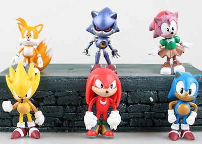 6pcs Set The Hedgehog Super Sonic Figures Figurines Cake Toppers Dolls Kids Toy