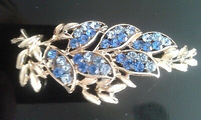 Antique Broach Gilt with Medium & Light Blue Stones Shaped as a Leaf