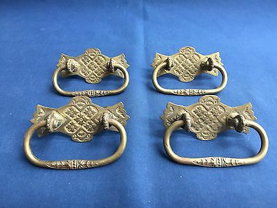 4 Antique Victorian Eastlake Brass Drawer Pull Handles