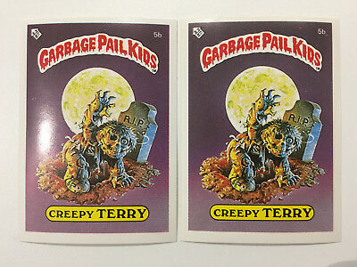1985 UK Garbage Pail Kids 1st Series 5b Creepy TERRY : VARIATION Cards