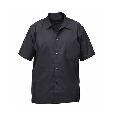 Winco Black Short Sleeve Chef Shirt