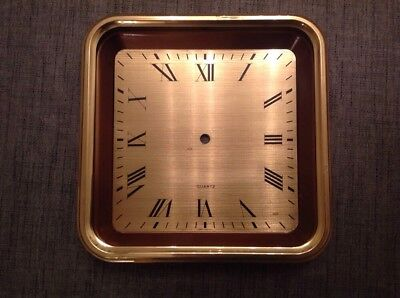 Vintage Brass Clock Face And Case New Old Stock With Hands 260x260mm 25mm Deep