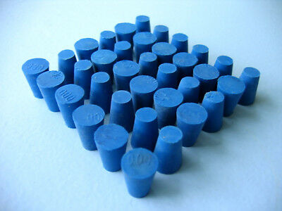 Size 000 Blue Rubber Stoppers  (Count 36)