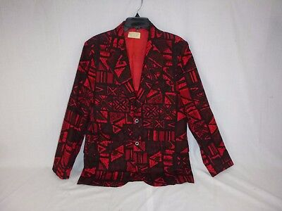 Vtg Sandwich Isles Cotton Sport Coat Jacket Red Tiki Hawaiian Print R36
