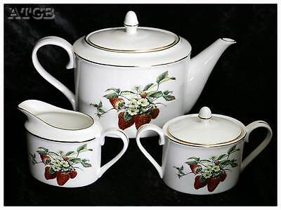 Vintage Pippa Nijulinsky strawberry design teapot jug & bowl tea set