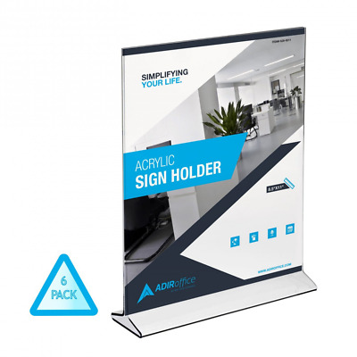 AdirOffice Table Card Display – Portrait Style Menu Ad Frame – Top Insert – Clea