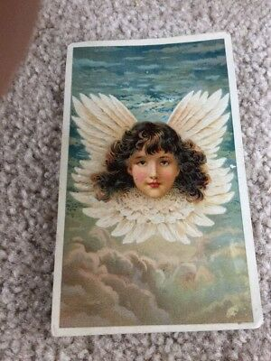 Ca 1890 Advertising Trade Card Girl With Wings In Clouds Arbuckles Ariosa Coffee