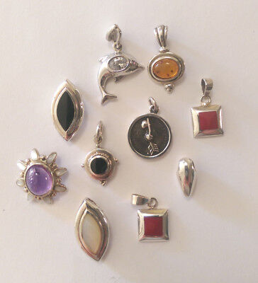 Bulk Lot Sterling Silver Pendants: 10 Pieces