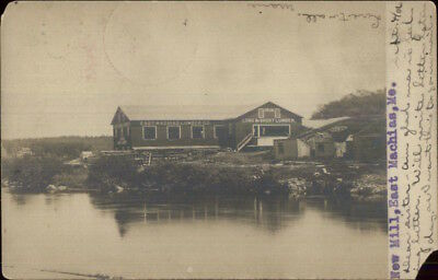 East Machias ME New Lumber Mill Bldg 1906 Real Photo Postcard